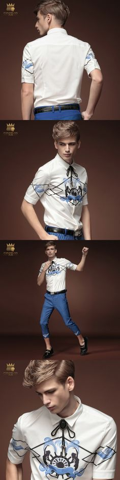 Free shipping new fashion casual men's male summer short sleeved shirt 2015 summer white collar shirt 15327 slim thin on sale