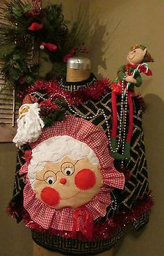 UGLY Christmas Sweater You Can't Touch this Elf Santa & Mrs Claus sz L
