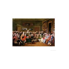 Reading of the Tragedy 'L'Orphelin De La Chine' in the Salon of Madame... (£46) ❤ liked on Polyvore featuring home, home decor, wall art, giclee wall art and giclee poster