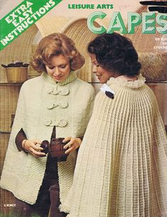 Vintage 1975 Leisure Arts Crochet, Knit Cape Pattern #53 Extra Easy Instructions