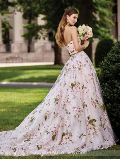36 floral wedding dresses that are incredibly pretty wedding strapless floral a line wedding dress 117283 orabelle junglespirit Gallery