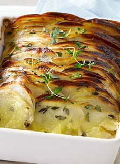 Low FODMAP Recipe and Gluten Free Recipe - Crispy layered thyme potatoes  http://www.ibssano.com/low_fodmap_recipe_thyme_potatoes.html