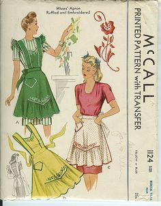 McCall 1124 ©1944 Apron Ruffled and Embroidered