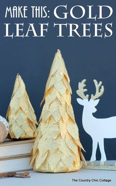 DIY Gold Leaf Holiday Tree Decor Tutorial, perfect for Christmas. Miniature Christmas Trees, Diy Christmas Tree, Holiday Tree, Xmas Tree, Christmas Projects, Winter Christmas, Christmas Holidays, Christmas Ideas, Christmas Door