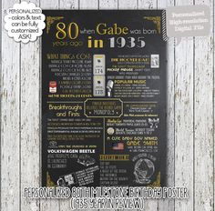 A fun 80th birthday customized digital printable poster for 1935 babies which include events, tidbits & facts from 1935! Perfect to print out and