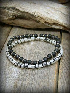 Mens Bracelet, African Bead Bracelet, Mens Jewelry, Stretch Bracelets,  by StoneWearDesigns