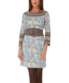 Look at this Brown & Blue Bosco Redondo Dress on #zulily today!