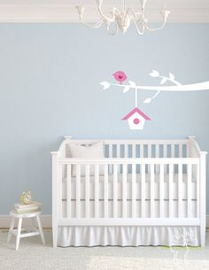 Children Wall Decal Branch with Birdhouse - Nursery Home Pink Bird Tree via Etsy $37