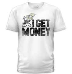 Goodie Two Sleeves MONOPOLY I GET MONEY T-SHIRT Monopoly Man, Goodie Two Sleeves, How To Get Money, Vintage Tees, White Shorts, Tanks, Mens Tops, T Shirt, Presents