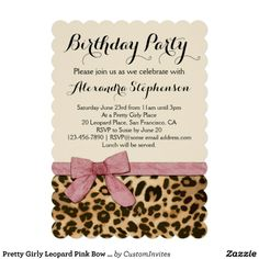 Pretty Girly Leopard Pink Bow Custom Printed Birthday Party Invitations, Girl's or Ladies Wild Animal Safari Theme.