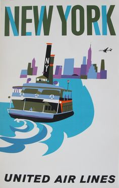 New York - United Air Lines classic travel poster