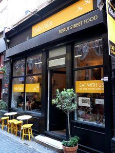 Yalla Yalla Lebanese Café : 1 Green's Court (for a quiet & cheap lunch). Cafe Shop Design, Restaurant Interior Design, Shop Front Design, Restaurant Exterior, Cafe Restaurant, Café Exterior, Bar Noir, Shop Facade, Small Restaurants