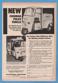 1964 Cushman Motors 3-wheel Motorcycle Police Vehicle Chalk photo print ad