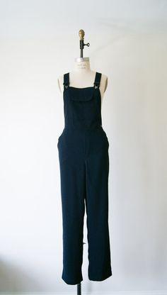 Vintage Overalls 90s Dark Navy Wide Leg by NewOldFashionVintage