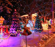 Inspiring picture beautiful, christmas, lights, night, snow. Resolution: 500x327. Find the picture to your taste!