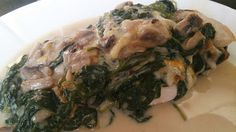 Chicken with mornay and spinach