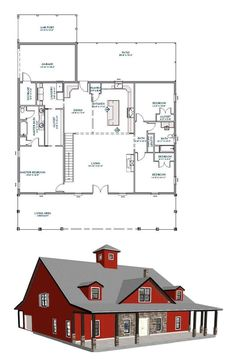 Barn Homes Floor Plans, Metal House Plans, Barndominium Floor Plans, Pole Barn House Plans, Dream House Plans, Small House Plans, House Floor Plans, Steel Building Homes, Building A House