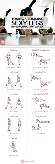 9 toning and slimming leg exercises to work your inner and outer thighs, hips, quads, hamstrings and calves.