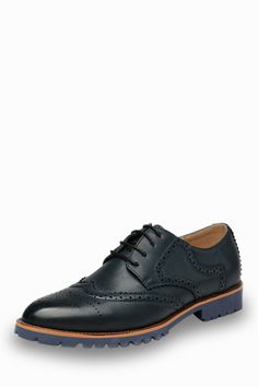 Fashion Brogue Men's Shoes In Navy