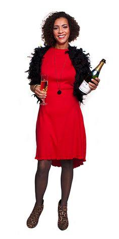 heel feestelijk én makkelijk te maken... een knalrode jurkje