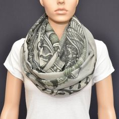 100 Dollar Bill Infinity Scarf by NyUrbanAccessories on Etsy, $25.00