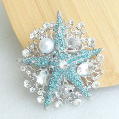 LARGE Fancy STARFISH and Crystal Brooch/Ornament by allysonjames