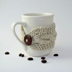 Coffee tea cup cozy mug cozy Oatmeal by socksandmittens on Etsy, $14.99