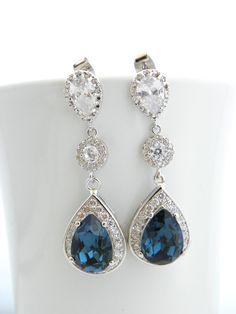 Blue Wedding Earrings, Montana Blue Swarovski Earrings, Cubic Zirconia, Bridal Jewelry, Sterling Silver, Blue Teardrop Earrings, CZ, Long