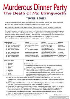 Murderous Dinner Party - ROLEPLAY - Conversation Cards - 7 Pages worksheet - Free ESL printable worksheets made by teachers Safari Theme Party, 6th Grade Reading, Conversation Cards, Mystery Dinner, Adult Party Games, Shark Party, Teacher Notes, Teaching Jobs, Valentines Day Party