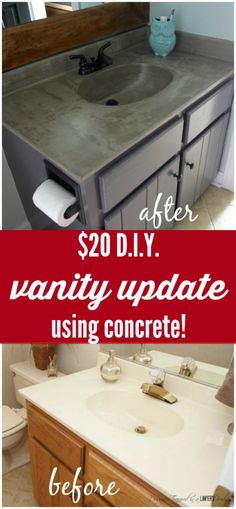 DIY Vanity Makeover using Concrete Overlay! DIY vanity update using a concrete overly for under twenty bucks! Full tutorial by Designer Trapped in a Lawyer's Body. Diy Vanity, Home Renovation, Home Remodeling, Bathroom Remodeling, Bathroom Makeovers, Kitchen Renovations, Bathroom Vanities, Bathroom Vanity Makeover, Bathroom Interior