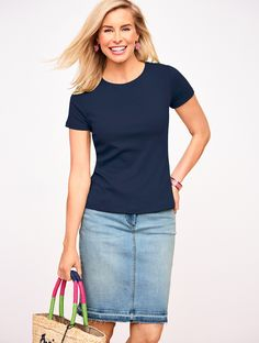 Your favorite denim skirt is all grown up with a feminine shape and a fun frayed hem. The epitome of casual-chic, this flattering skirt will be your go-to for comfortable, carefree style. Pair it with your favorite color tee and off you go! | Talbots