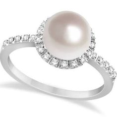 pearl ring with diamond halo - Google Search