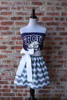 Texas Christian University TCU Horned Frogs Game Day Strapless Dress by Jill Be Nimble on Etsy.  Great TCU tailgating dress or TCU gameday outfit.