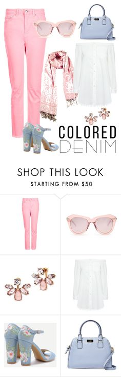 """Pink denim"" by diyaboutique ❤ liked on Polyvore featuring Topshop, Karen Walker, Marchesa, 10 Crosby Derek Lam and Kate Spade"