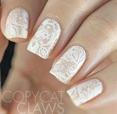 White-lace-stamping | Awesome Wedding Nails for Bride Classy