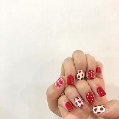 Cute Red Nails, Cute Acrylic Nails, Nail Swag, Diy Nails, Manicure, Palm Nails, Korean Nails, Red Nail Art, Nail Decorations