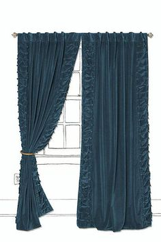 velvet curtains | ... Parlor Curtain - Anthropologie.com - turquoise, blue, velvet, curtains