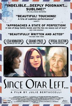 Julie Bertucelli directs this film about three strong-willed women—mother, daughter and granddaughter—living together in Tbilisi, capital of the former Soviet republic of Georgia. Eka, the family matriarch, portrayed by 90-year-old actress Esther Gorintin, lives for her son, Otar, a physician who has become a construction worker in Paris. Her middle-aged daughter, Marina, remains a single woman struggling with the disappointments of her life...