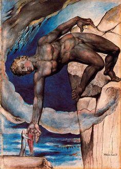 Antaeus consignant Dante et Virgile dans le dernier cercle de l'Enfer (1824-1827) William Blake (National Gallery of Victoria, Melbourne)