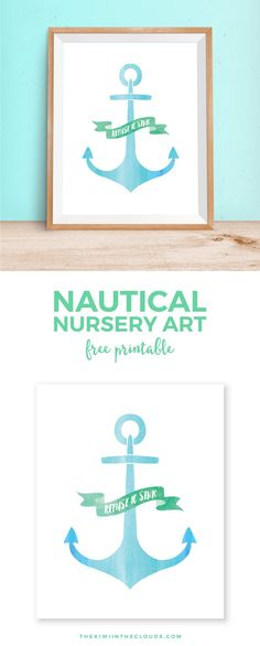 """Anchor Free Printable Wall Art   This inspirational anchor printable is 8""""x10"""" and is perfect for a soft, serene nursery or even in the living room of a coastal themed home. Click through to download your copy today!"""