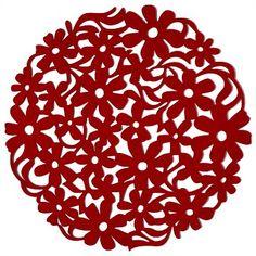Jason Felt Red Floral Round Placemat 35cm