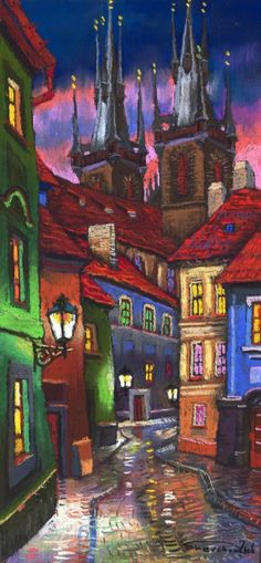Prague Old Street 01 Painting - Prague Old Street 01 Fine Art Print - Yuriy Shevchuk