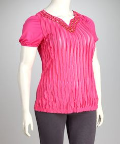 Take a look at this C.O.C. Pink Plus-Size Embellished V-Neck Top by C.O.C. on #zulily today!
