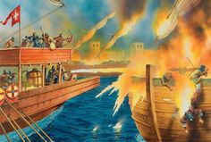 """""""The Arabs had first experienced Greek Fire at the climax of their first siege of Constantinople in when their fleet was scattered and destroyed thanks to this Byzantine secret weapon"""", Peter Dennis Us Navy Seals, Military Art, Military History, Siege Of Constantinople, Byzantine Army, Turkish Army, Empire Romain, Fire Image, Early Middle Ages"""