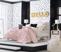 Add some kawaii glam to your bedroom with the new Hello Kitty x PBteen collection including super cute bedding, beanbag, lamp, mirror and more! Hello Kitty Bedroom Set, Hello Kitty Lamp, Hello Kitty Rooms, Cat Bedroom, Hello Kitty House, Bedroom Decor, Hello Kitty Room Decor, Bedroom Furniture, Cute Bedding