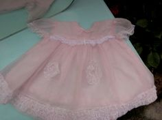 1950s Pink Chiffon Baby Dress