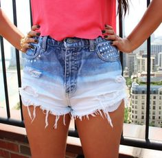 DIY Bleached Denim Shorts | 12 DIYs That Will Take Your Fesitval Wardrobe to the Next Level | http://www.hercampus.com/style/12-diys-will-take-your-festival-wardrobe-next-level