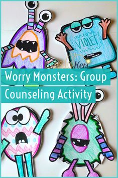 Make a Worry Monster in Your School Counseling Worry Group - Keri Powers Pye, Counselor Keri - art therapy activities Counseling Activities, Group Counseling, Art Therapy Activities, Activities For Kids, Play Therapy, Anxiety Activities, Therapy Worksheets, Therapy Tools, Social Activities