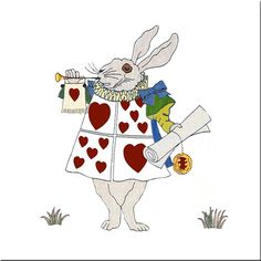 The White Rabbit as herald, original CFA Voysey design for Alice in Wonderlandproduced by Minton Co., 1890s