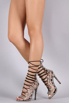 Python Strappy Caged Lace Up Stiletto Heel